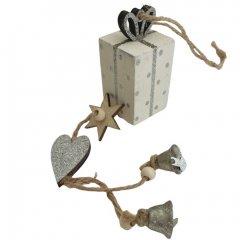 Feestelijke kado hanger wit met zilver, 32cm