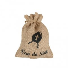 Jute cadeauzakje 'Van de Sint' 17x12cm