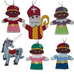 NIEUWE SET ;Houten set met alle Pietjes en SInterklaas, 6 stuks (5 + 1 Sinterklaas GRATIS)