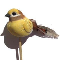 Vogeltje geel-wit-bruin op steker, 11cm