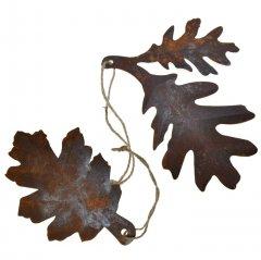 2 bladeren met verweerde look, 15cm