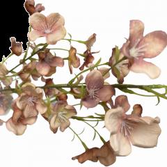 Tak met hortensia bloemetjes, Vintage oud-roze en peche, 90cm