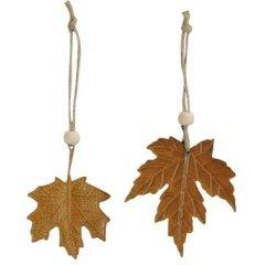 Set van twee bladeren hangers met rusty look, 8cm