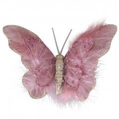 Set van drie winterse oud-roze vlinders, 12x8cm