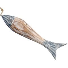 Blauw met naturel houten visje, 13cm