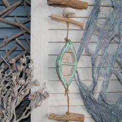 Hanger met drijfhout, stenen en mint houten bootjes, 90cm