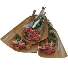 Gedroogde roze roosjes, 3 bossen