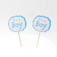 Cake Topper, It's a Boy op stok, 12stuks