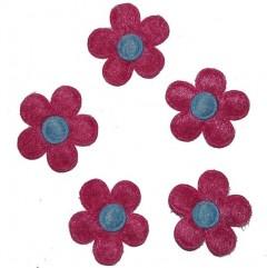 Fuchsia bloemetje met lichtblauw hart, 12 stuks, 2,5cm