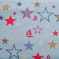 Subtiele lichtblauwe stof met sterren. 35x120cm