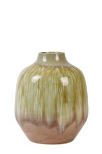 Vaas MILENA keramiek oud roze-olijf groen, 22.50cm