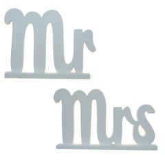 Set van twee prachtige houten Mr and Mrs woorden, 16 x 13cm