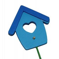 Blauw vogelhuisje op stokje, 6cm