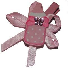 Knijpertje met roze houten flesje, 5x3,5cm