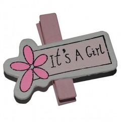 it's a girl knijpertje, 5 stuks