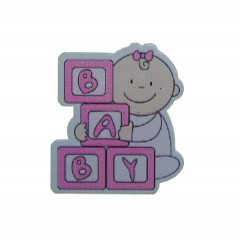 Baby'tje met letterblokken, roze, 3,5cm