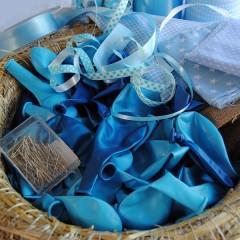 Pakket en handleiding, Geboortekrans jongen blauwe ballonnenkrans