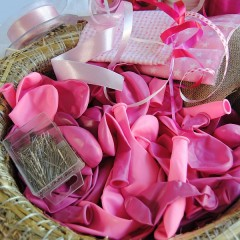 Pakket en handleiding, Geboortekrans meisje roze en WITTE ballonnenkrans