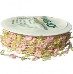 Roze lint met rozen en groene accenten, 11mm