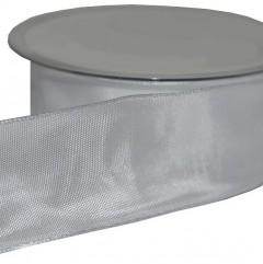 Wit lint , satijn met ijzerdraad in de rand, 40mm