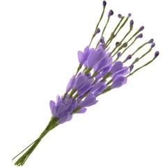 Bundel van paarse bloemetjes en besjes, 10 stuks, 20cm