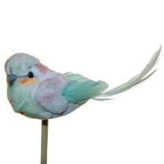 Mintkleurig vogeltje met bloemetjes, 12cm