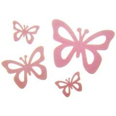 Roze vlinders van hout, set van 4