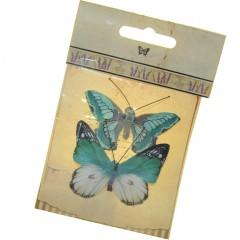 Setje mintgroen vlinders gemaakt van papier, 5cm