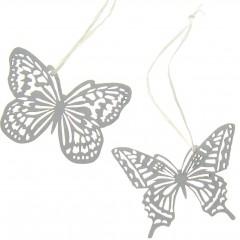 Setje witte delicate houten vlinders, 6cm