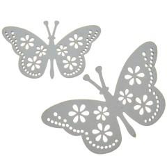 Witte houten vlinders, twee stuks, 9.5cm