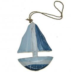 Bootje blauw met wit, 10cm