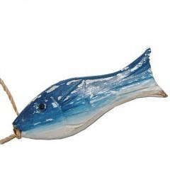 Blauw houten visje, 8,5cm