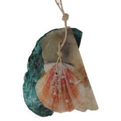 Hanger met Capiz schelpen in parelmoer en zeeblauw, 10cm
