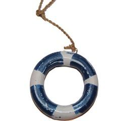 WEER OP VOORRAAD! Houten reddingsboei, blauw wit, 7cm