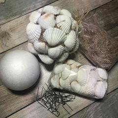 Zelf decobal maken, witte chippie schelpen 10cm