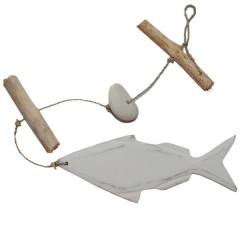 Houten vis met drijfhout en stenen, 35cm