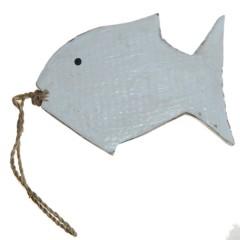 Houten witte vis, set van twee, 12 en 15cm