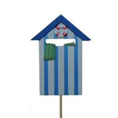 Strandhuisje op stok blauw/wit, 9cm