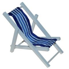 Strandstoel 13 cm op stok blauw/wit