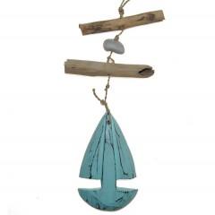 Hanger met aqua zeilboot, 35cm