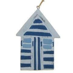 Vissershuisje,strandhuisje blauw, 10cm