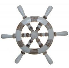 Stuurwiel wit met donker hout, 30cm