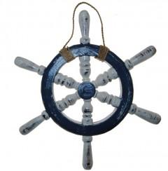Stuurwiel blauw met donker hout, 30cm