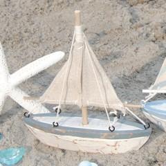 Houten bootje met katoenen zeilen in jute kleur, 16cm