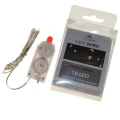 LED lichtsnoer 10 lampjes, inclusief batterijen,100cm