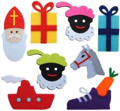 Allerlaatste stuks van deze serie!! Grote set van 8 vilten figuurtjes; Hop, hop, hop, paardje in galop!