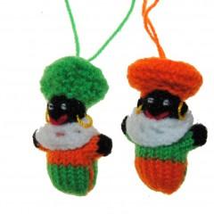 Gebreide balpop zwarte Piet, oranje/groen, 6cm
