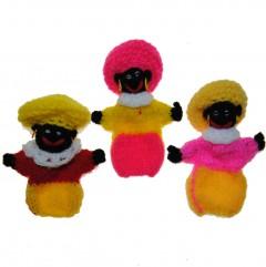 Vingerpopje Piet Roze/geel/rood, Prijs per stuk.10cm
