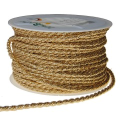Zijdeband, goud per meter, 4mm