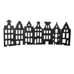 Grachtenpandjes van hout, zeven-luik, 46 hoog x18.5cm breed/huisje, zwart